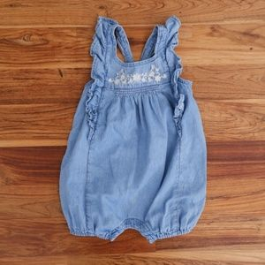 Kid's Gap Embroidered Chambray Romper Size 6-12M